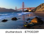 Golden Gate Bridge is shown on sunset , San Francisco, California - stock photo