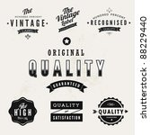 Vintage Styled Premium Quality and Satisfaction Guarantee Label collection with black grungy design. - stock vector