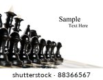 black chess pieces isolated on a white background - stock photo