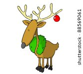 Reindeer with wreath and decoration (vector) - stock vector