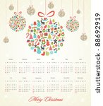2012 Calendar with Stylized Retro Christmas Background - stock vector