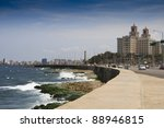 Famous Malecon drive with Hotel Nacional - stock photo