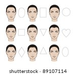 Forms of a female face - stock photo