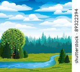 Vector landscape with green grass, forest and blue river on a sky background - stock vector