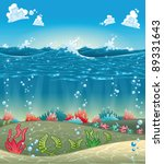 Under the sea. Funny cartoon and vector illustration. - stock vector