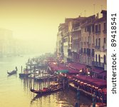 Grand Canal at foggy evening. - stock photo