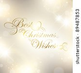 Christmas greetings over bright background with stars and lights - stock vector