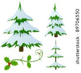 Set of snow covered fir trees and holly christmas decorated branch. Vector illustration. - stock vector