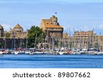 St. Malo Fortifications and Harbor, Brittany, France - stock photo