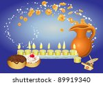 chanuka background with candles, donuts, oil pitcher and spinning top and  flying coines - stock vector