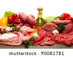 Fresh butcher cut meat assortment garnished - stock photo