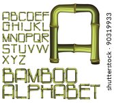 bamboo alphabet font - stock vector
