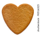 Gingerbread cookie in the shape of a  heart - stock photo