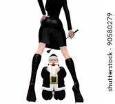 Santa In Black - Bondage.  A kneeling Santa wearing a black latex suit and red gag, being disciplined by a dominatrix elf girl.  Isolated. Bah Humbug - stock photo