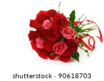 Bouquet of red roses with ribbon on white isolated background - stock photo