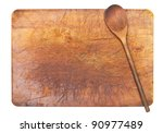Cooking background - wooden spoon on cutting board isolated on white background - stock photo