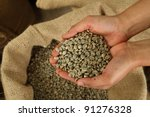 green unroasted coffee beans on hand - stock photo