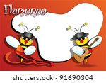 Flamenco Spanish bees with guitar, card for kids, scrapbook  useful - stock vector