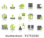 green network server hosting icons - stock vector