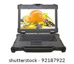 Ruggedized laptop with building tools on screen - stock photo
