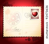 Postcard with precious heart, vintage background. Vector - stock vector