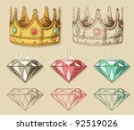 Crown and diamond isolsted on background - stock vector