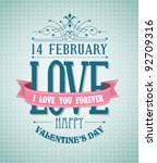 Valentine's Day type text calligraphic Valentine's headline with love - stock vector