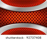 Abstract red background with metallic elements and hexagon perforated pattern. Part of set. Vector art. - stock vector