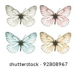 Aporia butterflies isolated on white background (vector) - stock vector