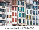 houses in the city of Bayonne in France - stock photo