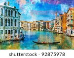 Grand Canal with traveling gondola. - stock photo