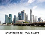 Singapore skyline of financial district with modern office buildings and Merlion Park as seen from Esplanade. - stock photo