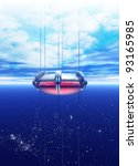 A futuristic space elevator is seeing rising into earth orbit.  The Space Elevator uses a carbon nanotube ribbon that stretches from the surface of the earth to a counterweight in space. - stock photo