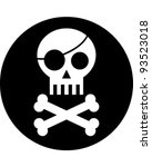 Skull with Eye Patch - stock vector