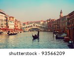 Rialto Bridge and gondolas  in Venice. - stock photo