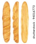 long loaf from three sides isolated on a white background - stock photo