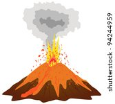Volcano mountain top exploding. Vector - stock vector