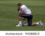 FOXBOROUGH, MA - AUGUST 6: Rob Gronkowski has a break during a practice at the training camp in Foxborough MA on August 6, 2010. - stock photo