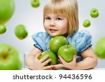 beauty girl holding green apples - stock photo