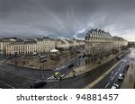 Town of Bordeaux in a cloudy day - stock photo