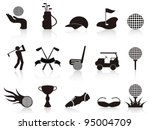 black golf icons set - stock vector