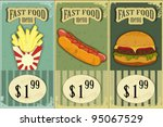 Vintage Fast Food Labels - the food on  grunge background - vector illustration - stock vector