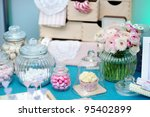 Fancy blue and pink table set - stock photo