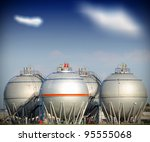 Big silver gaz and fuel Storage Tanks - stock photo
