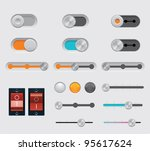 Vector UI buttons set - stock vector