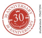 Stamp 30 anniversary, vector illustration - stock vector