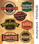 Collection of Premium Quality and Guarantee Labels with retro vintage styled design - stock vector