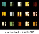 Night windows of the old block of flats - stock photo