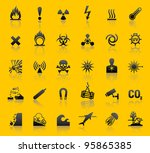 Set hazard warning symbols - stock vector