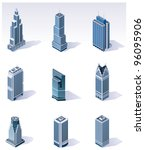 Vector isometric buildings. Skyscrapers - stock vector
